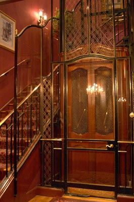 The old-fashioned lift is ready to whisk you upstairs.