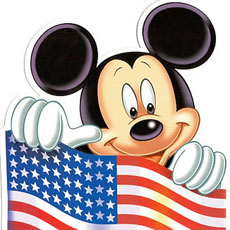 Mickey Mouse and US Flag